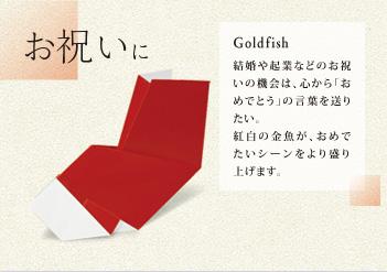 お祝いに Goldfish 結婚や起業などのお祝いの機会は、心から「おめでとう」の言葉を送りたい。紅白の金魚が、おめでたいシーンをより盛り上げます。