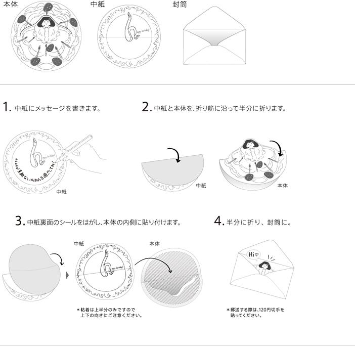 本体、中紙、封筒 1.中紙にメッセージを書きます。2.中紙と本体を、折り筋に沿って半分に折ります。3.中紙裏面のシールをはがし、本体の内側に貼付けます。4.半分に折り、封筒に。
